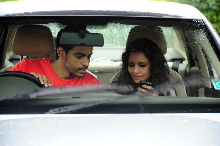 Bishnu And Aparna In Car Photo Still From Telugu Movie Ek