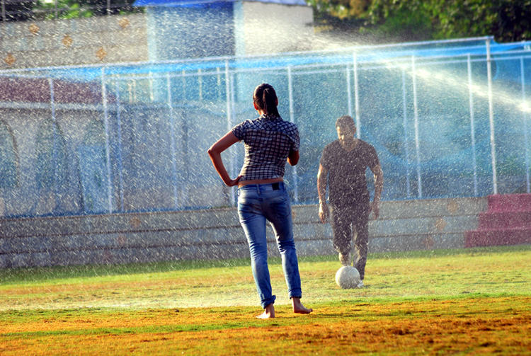 Bishnu And Aparna Football Playing Photo Still From Telugu Movie Ek