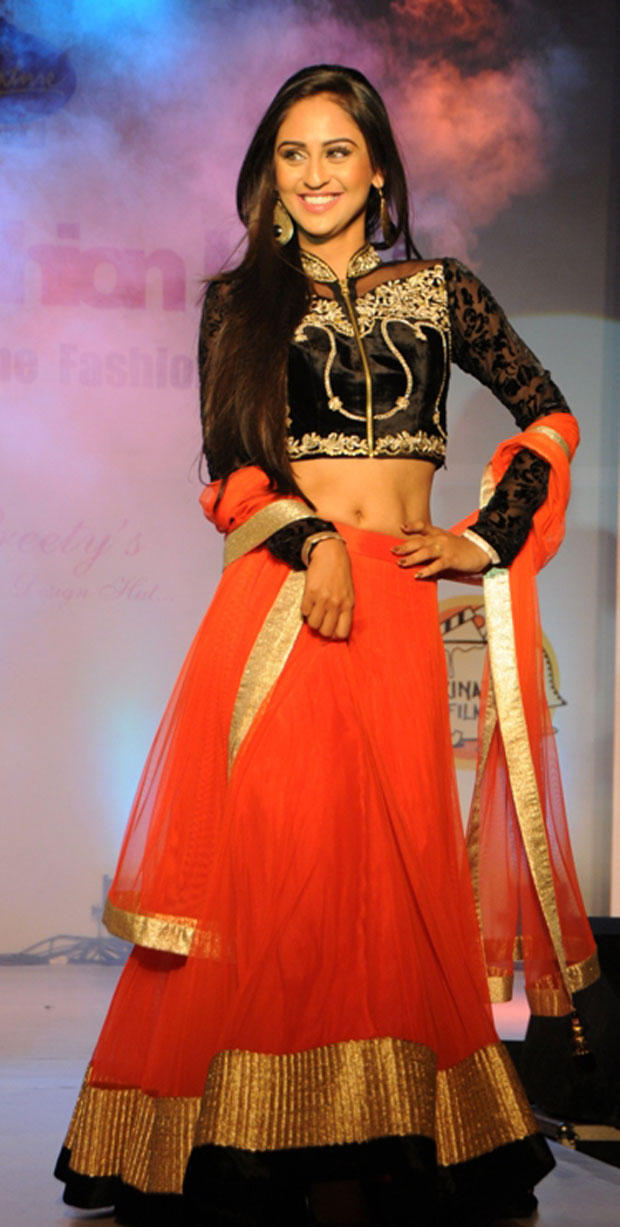 Krystle D'Souza Dazzling Smiling Look On Ramp At Grand Fashion Hub Website Launch