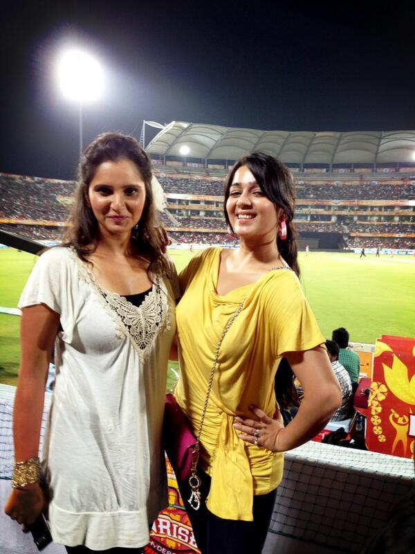 Charmy And Sania Posed For Camera At IPL Match RCB Vs SRH