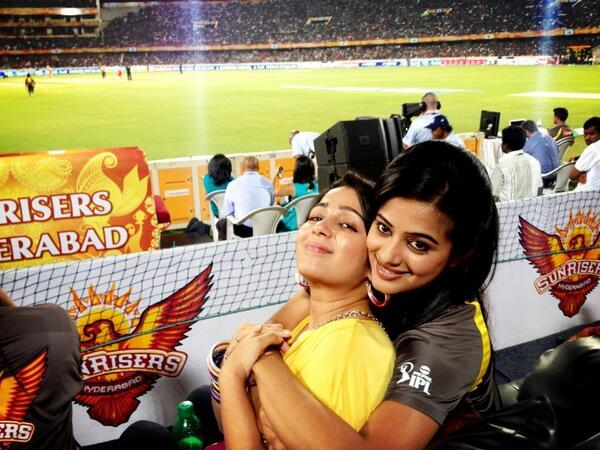 Charmy With A Friend Cute Look Pose At IPL Match RCB Vs SRH