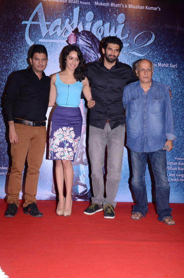 Bhushan,Shraddha,Aditya And Mahesh Posed For Camera At Aashiqui 2 Movie Music Launch Event