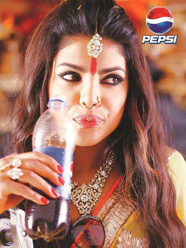 Priyanka Chopra Drinks Pepsi On The Sets Of Pepsi Ad