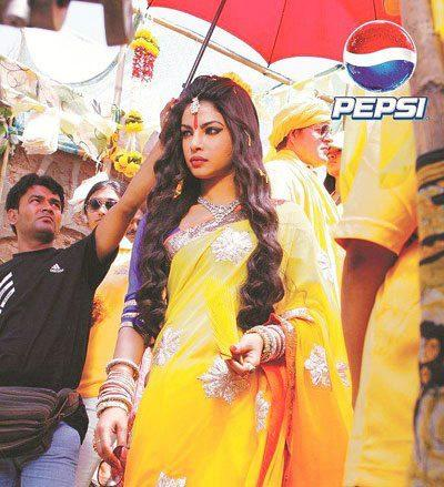 Priyanka Chopra Trendy Look In Yellow Saree On The Sets Of Pepsi Ad