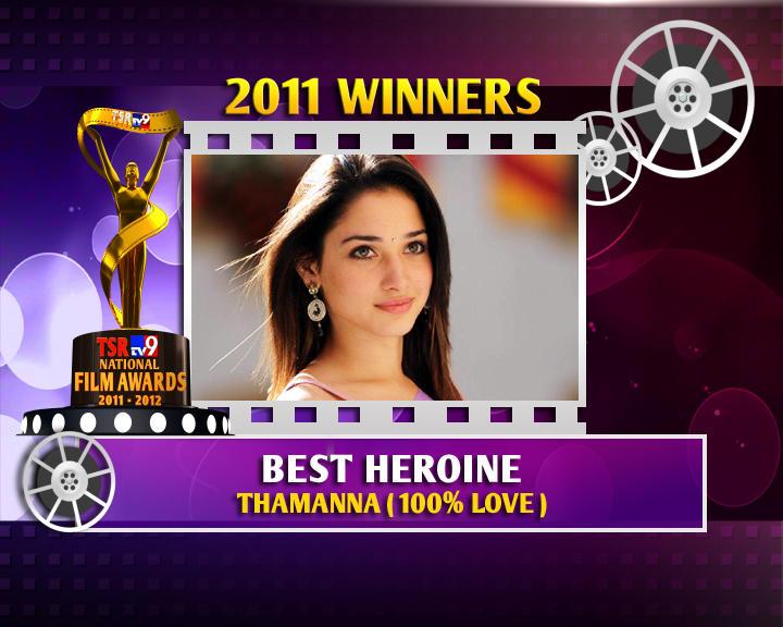 Tamannaah Is The Winner Of Best Heroine For 100% Love  Movie