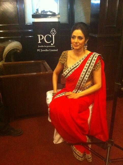 Sridevi Kapoor Dazzling Look In Saree At The India Today Woman Summit Awards 2013