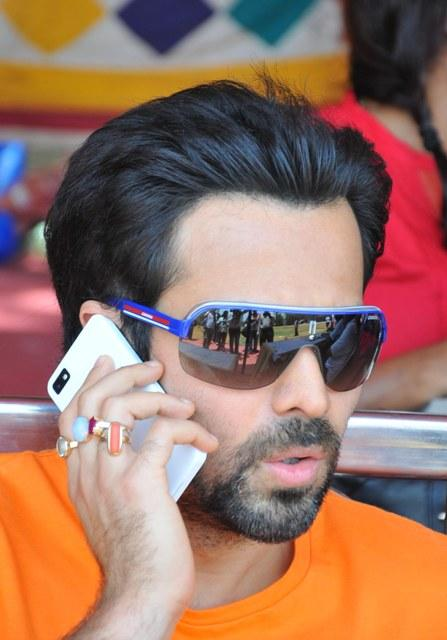 Emraan Talking In Mobile Photo Clicked At Media Cup Cricket Tournament