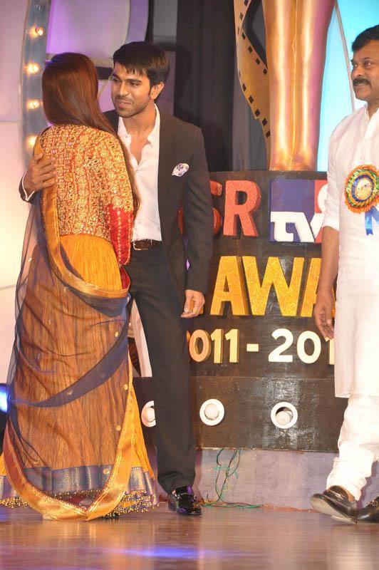 Ram Charan Teja And Rani Cool Gossip Look At TV 9 Film Awards
