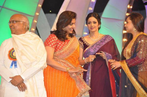 Sridevi Kapoor And Rani Mukerji Cool Smiling Look On The Stage At TV 9 Film Awards