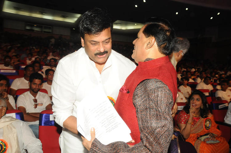 Chiranjeevi And T. Subbarami Reddy Smiling Look At TSR-TV9 National Film Awards 2011-2012 Presentation Function