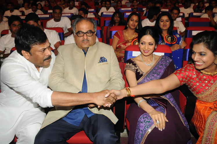 Chiranjeevi Shaked Hand With Pinky,Boney And Sridevi Look On At TSR-TV9 National Film Awards 2011-2012 Presentation Function