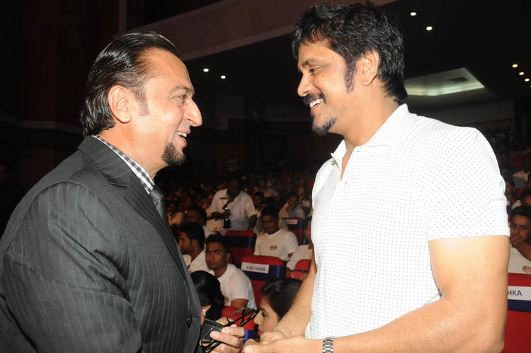 Gulshan And Nagarjuna Cool Chatting Still At TSR-TV9 National Film Awards 2011-2012 Presentation Function