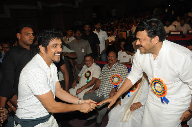 Nagarjuna And Chiranjeevi Handshaked Still At TSR-TV9 National Film Awards 2011-2012 Presentation Function