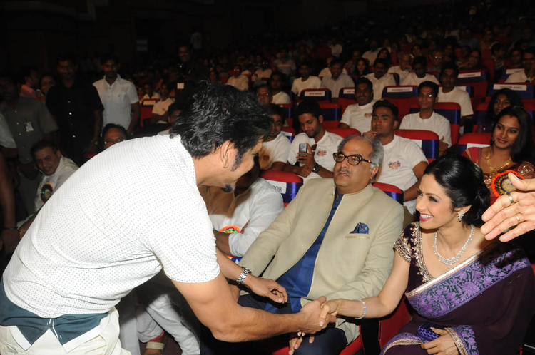 Nagarjuna Shaked His Hand With Sridevi And Boney Looks On At TSR-TV9 National Film Awards 2011-2012 Presentation Function