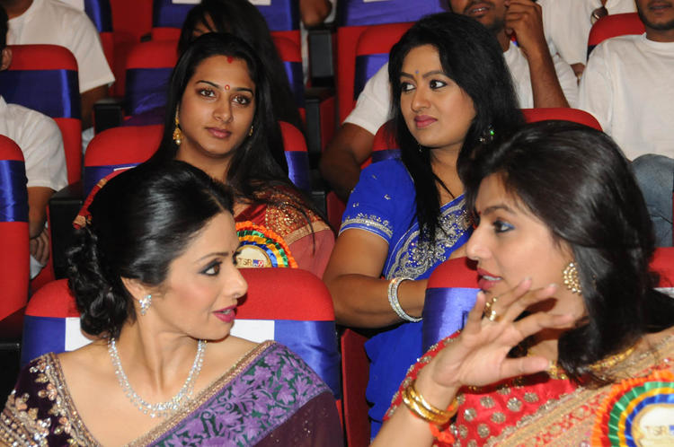 Sridevi And Pinky Discussion Still At TSR-TV9 National Film Awards 2011-2012 Presentation Function