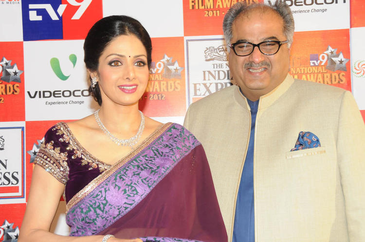 Sridevi With Hubby Boney Posed At TSR-TV9 National Film Awards 2011-2012 Presentation Function