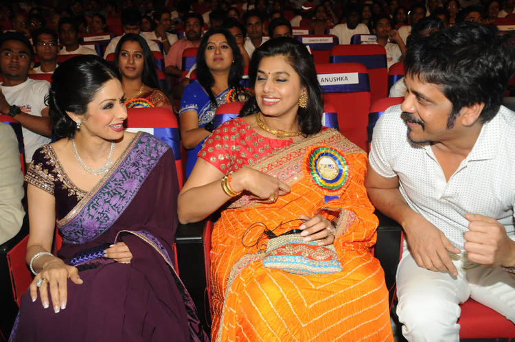 Sridevi,Pinky And Nagarjuna Gossip Still At TSR-TV9 National Film Awards 2011-2012 Presentation Function