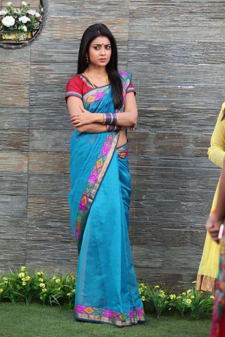 Shriya Saran In Saree Glamour Look From Pavitra Movie