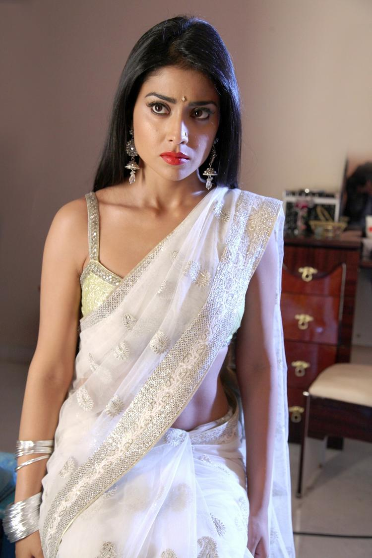 Shriya Saran In White Saree Gorgeous Look From Pavitra Movie