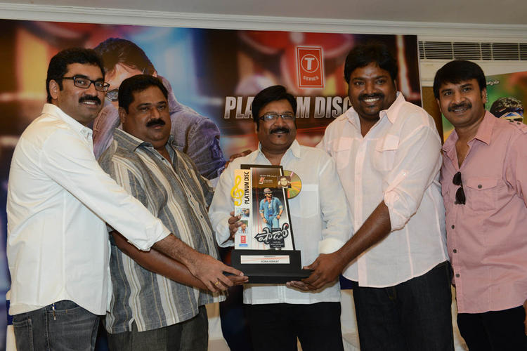 Gopi,Meher And Srinivas Smiling Pose At Shadow Platinum Disc Function