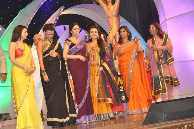 Ameesha,Neha,Rani,Pinky And Anu Posed For Camera At TSR-TV9 National Film Awards 2011-2012 Presentation Function