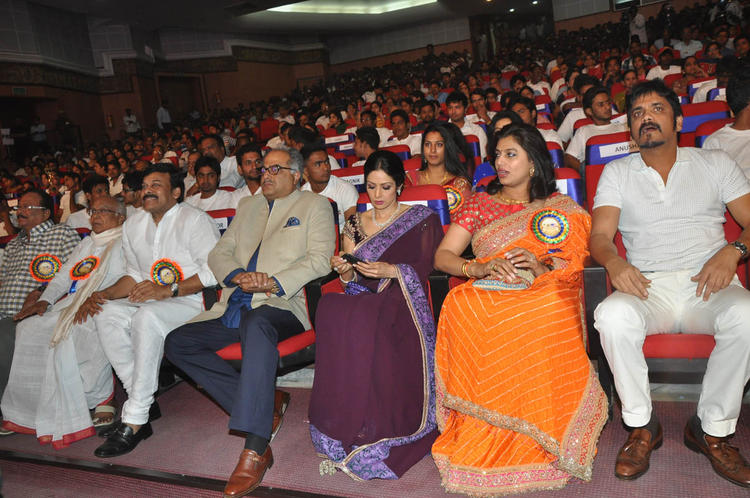 Boney With Wife Sridevi,Pinky And Nagarjuna Enjoy The Programme At TSR-TV9 National Film Awards 2011-2012 Presentation Function
