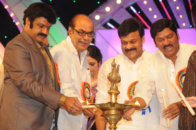 Chiranjeevi Lights The Candle At TSR-TV9 National Film Awards 2011-2012 Presentation Function