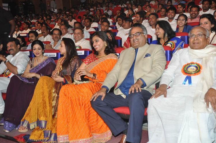Chiranjeevi,Sridevi,Rani,Pinky,Boney And Akkineni Nageswara Rao Snapped At TSR-TV9 National Film Awards 2011-2012 Presentation Function