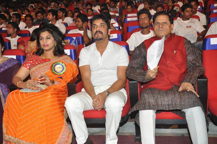 Pinky,Nagarjuna And T.Subbarami Reddy At TSR-TV9 National Film Awards 2011-2012 Presentation Function