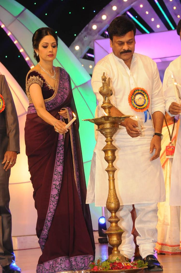 Sridevi And Chiranjeevi Light The Candle At TSR-TV9 National Film Awards 2011-2012 Presentation Function