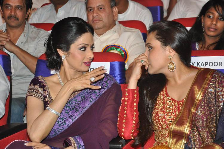 Sridevi And Rani Discussion Still At TSR-TV9 National Film Awards 2011-2012 Presentation Function