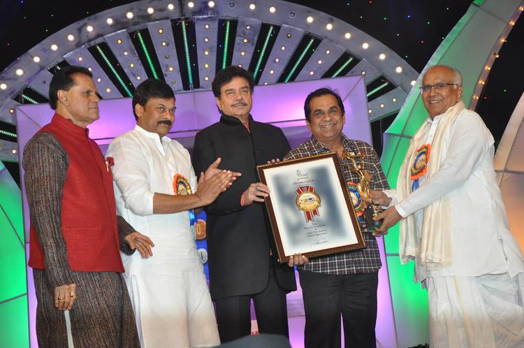 T.Subbarami Reddy,Chiranjeevi,Shatrughan,Brahmanandam And Akkineni Nageswara Rao Clicked At TSR-TV9 National Film Awards 2011-2012 Presentation Function
