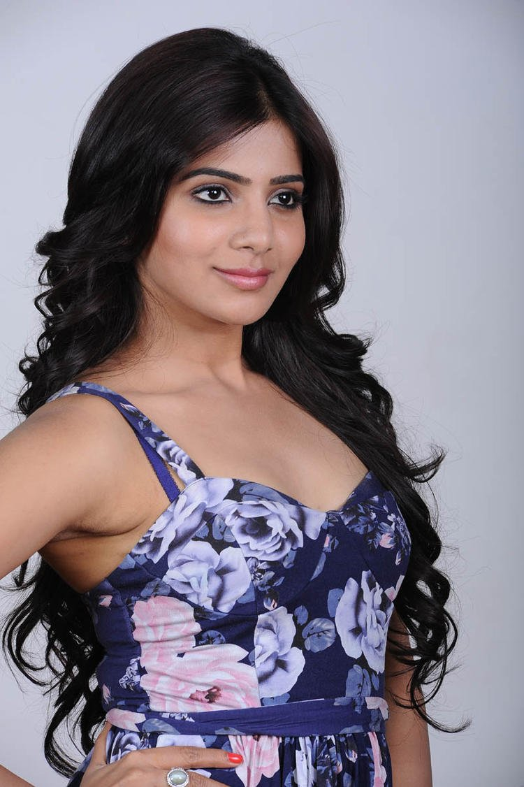 Samantha In Blue Flower Design Dress Beautiful Look Still