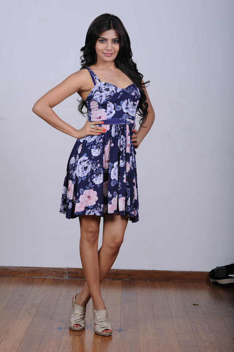 Samantha In Blue Flower Design Dress Trendy Look Still