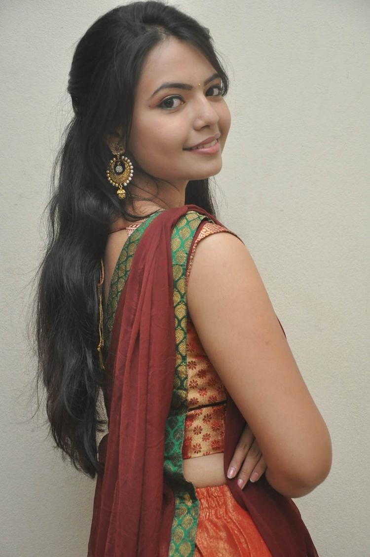 Mareena In Half Saree Fashionable Look Still