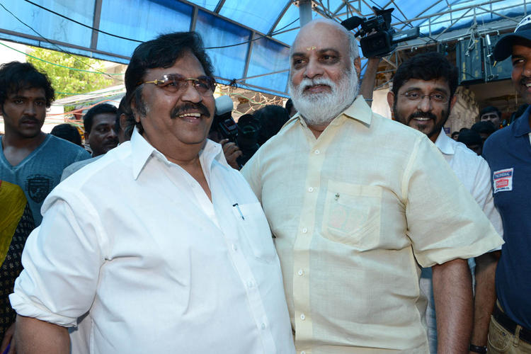 Dasari Narayana And K Raghavendra Smiling Pose At Mohan Babu New Movie Opening Event