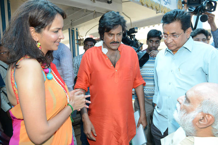 Lakshmi,Mohan And K Raghavendra Discussion Still At Mohan Babu New Movie Opening Event