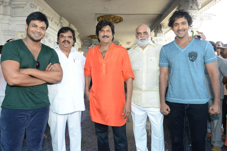 Manoj,Dasari Narayana,Mohan,K Raghavendra And Vishnu Posed For Camera At Mohan Babu New Movie Opening Event