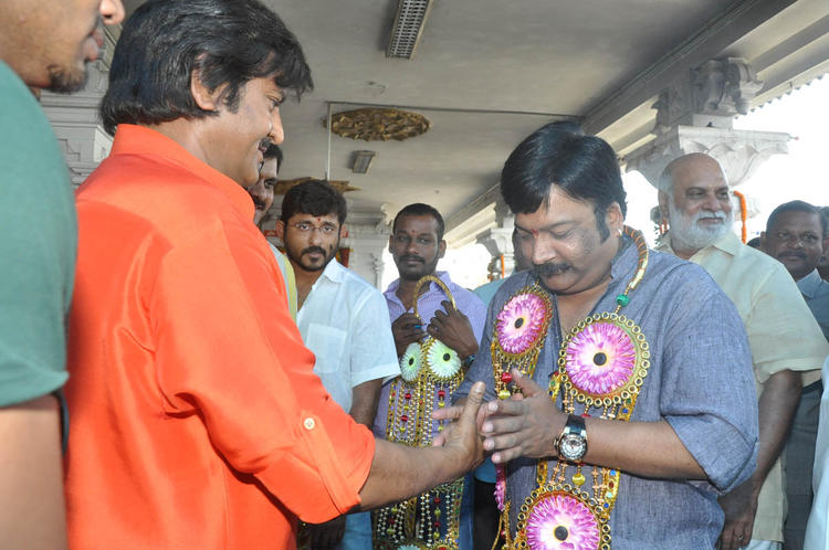 Mohan Welcomed A Guest And K Raghavendra Looks On At Mohan Babu New Movie Opening Event