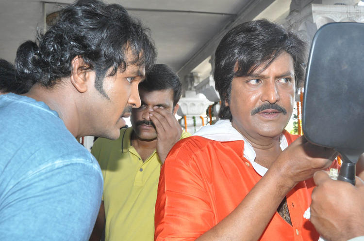 Vishnu And Father Mohan At Mohan Babu New Movie Opening Event