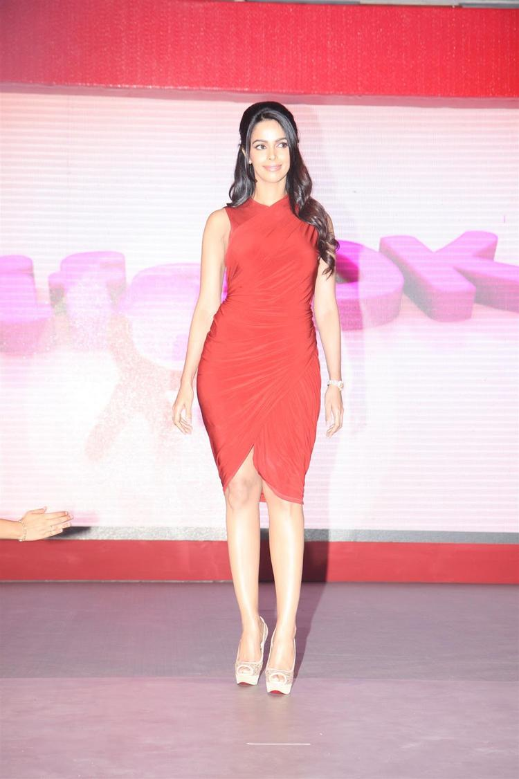 Mallika Sherawat Dazzles In Red Outfit At Life OK Press Meet
