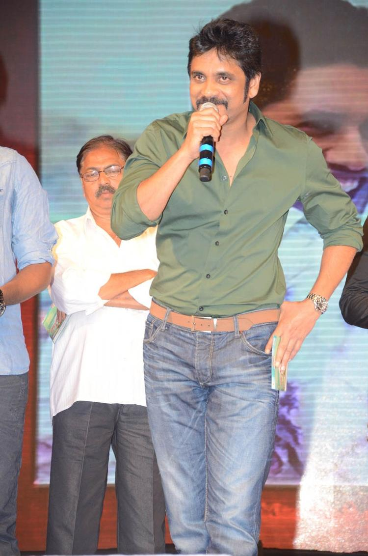 Nagarjuna Cool Smiling On The Stage At Tadakha Movie Audio Release Function