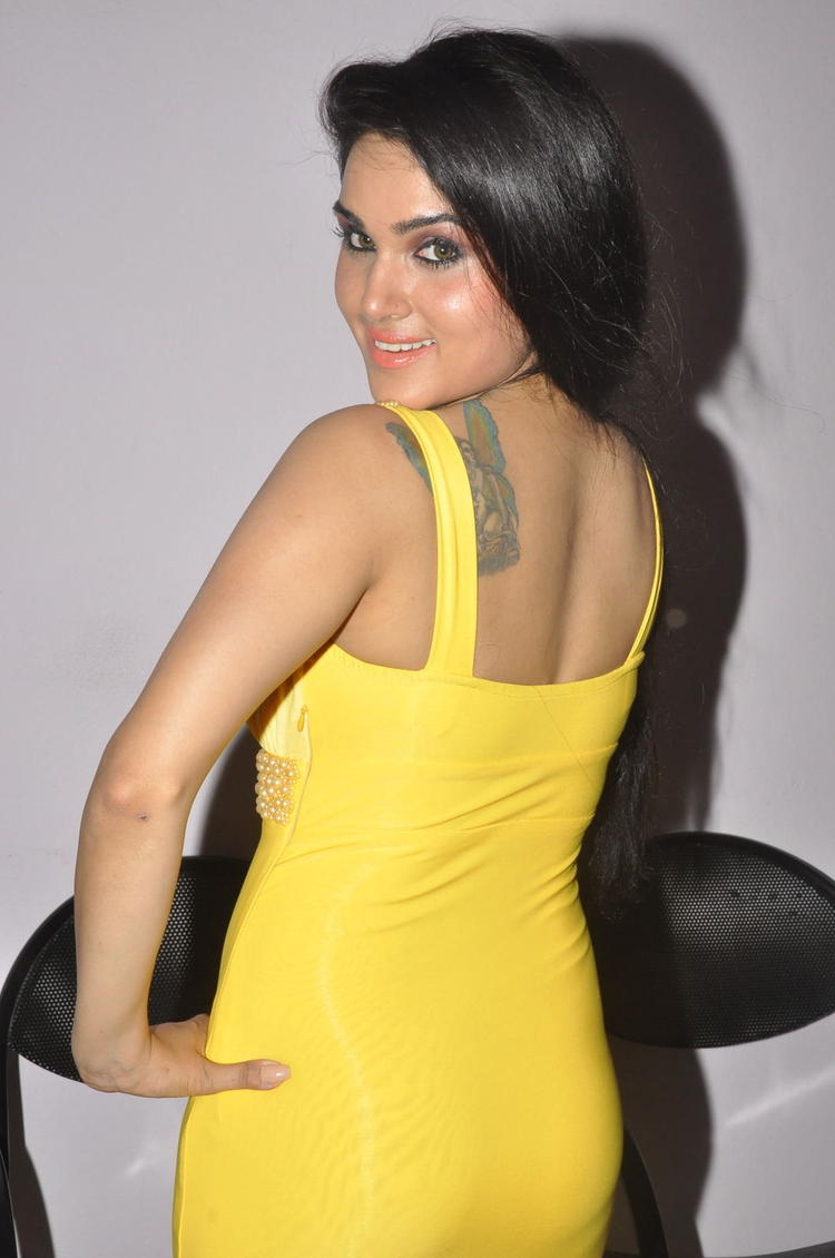 Kavya Singh Back Bare Tatoo Show Hot Look At Half Boil Movie Audio Launch Function