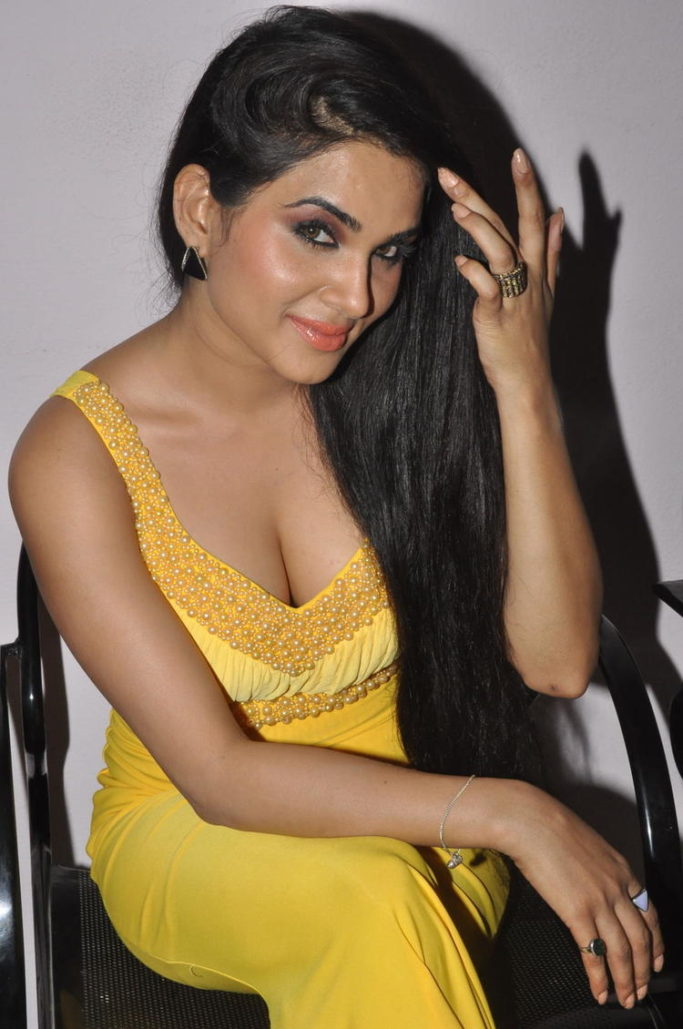 Kavya Singh Dazzles In Yellow Dress At Half Boil Movie Audio Launch Function
