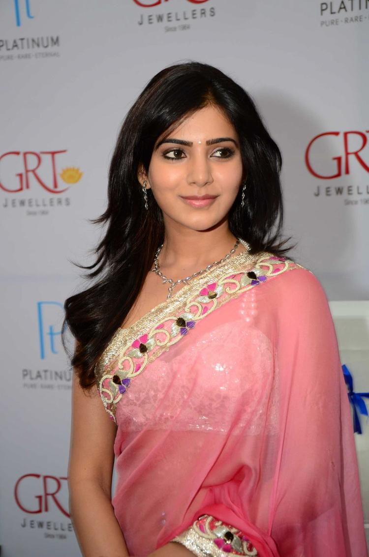 Samantha Sexy Hot Look In Saree At GRT Jewellers