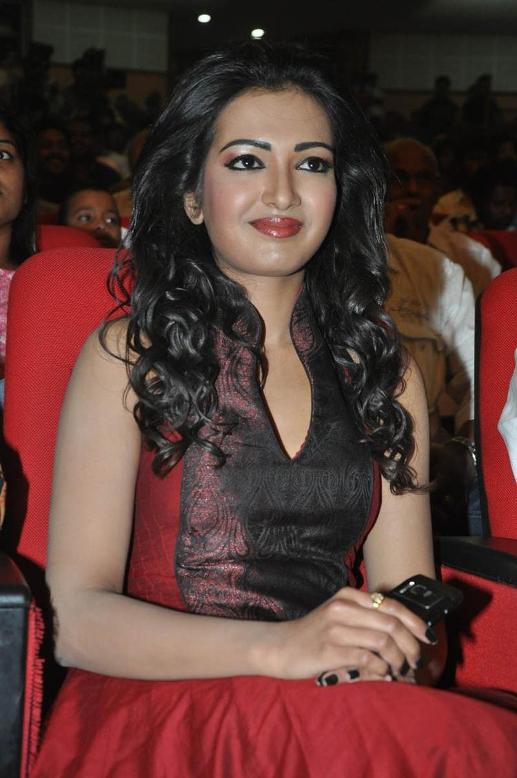 Catherine Gorgeous Look Complete With Red Lippy At Iddarammayilatho Audio Launch Function