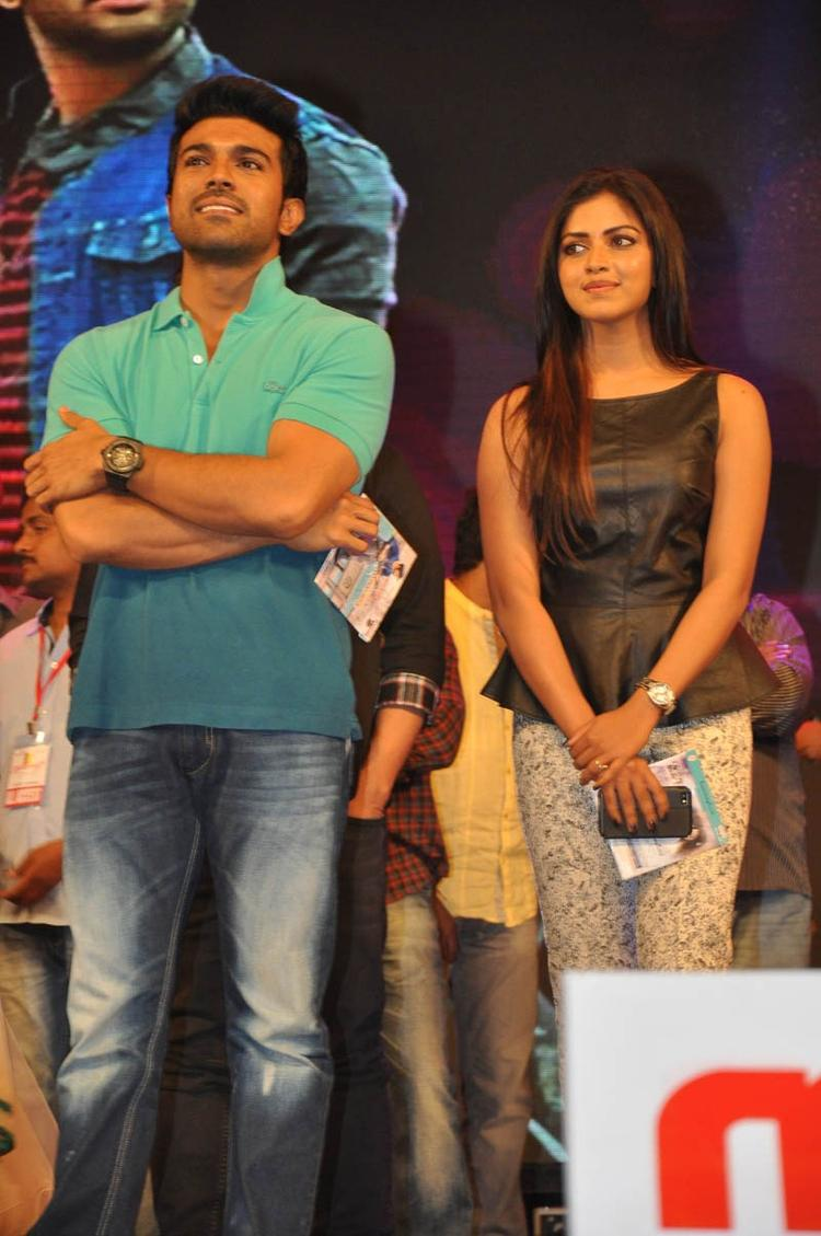 Ram Charan Teja And Amala Paul On The Stage At Iddarammayilatho Audio Launch Function