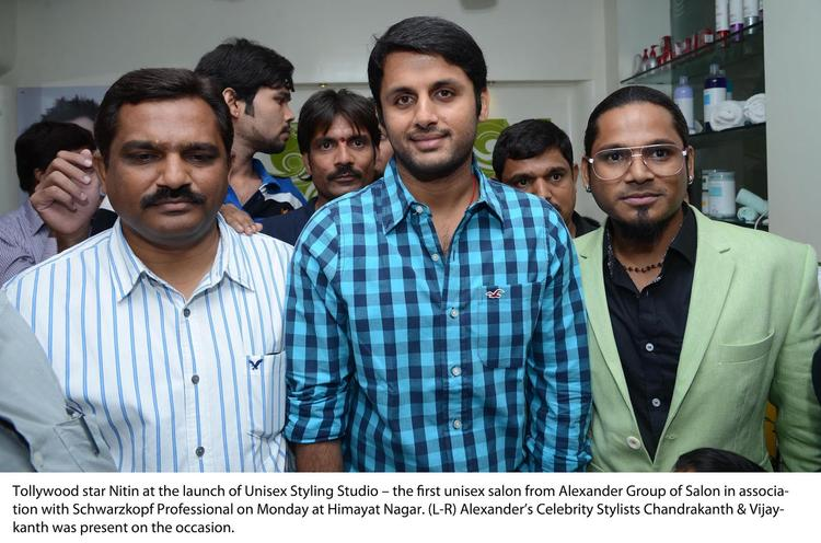 Nithin Snapped At Alexander Unisex Salon Launch Event