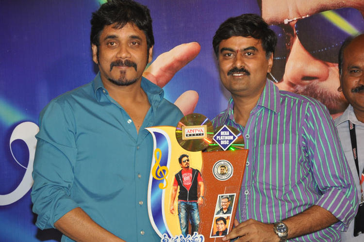 Nagarjuna Poses With The Greeku Veerudu Disc