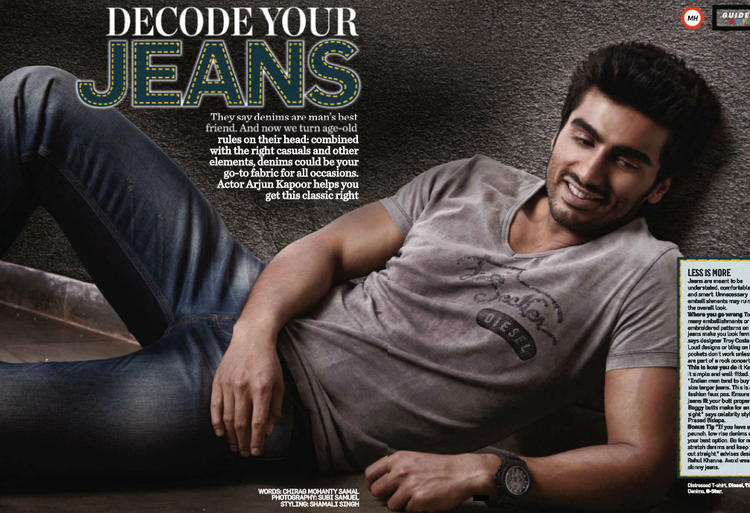 Arjun Kapoor Glamour Look In Jeans Photo Shoot Style Cover Issue Inside Men's Health Magazine May 2013